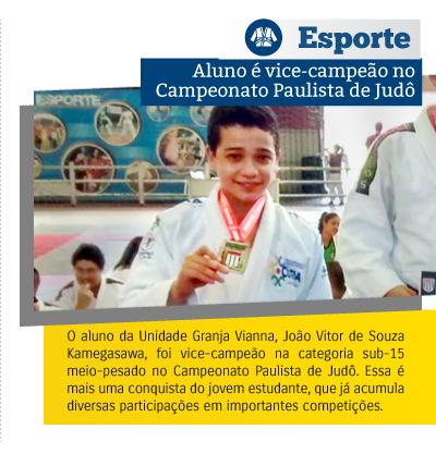 Aluno Riobranquino é vice-campeão no Campeonato Paulista de Judô