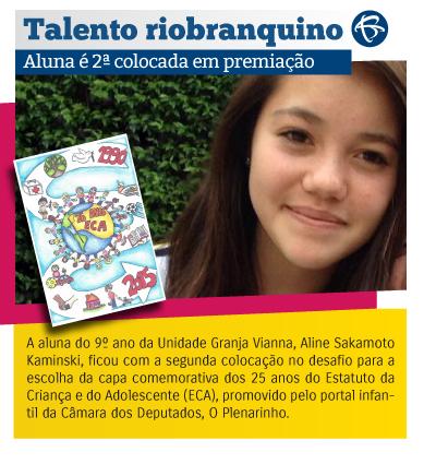 Talento riobranquino - Aluna é 2ª colocada em premiação