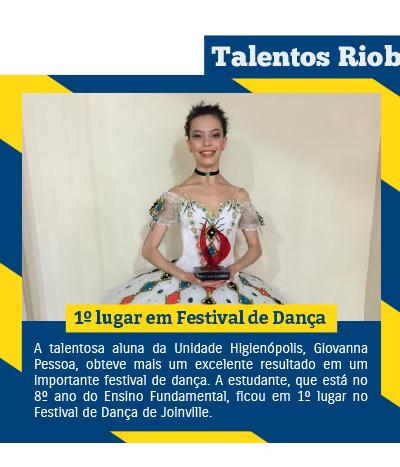 Aluna conquista 1º lugar em Festival de Dança de Joinville