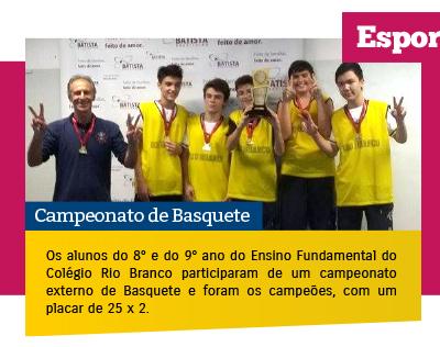 Alunos participam campeonato de Basquete