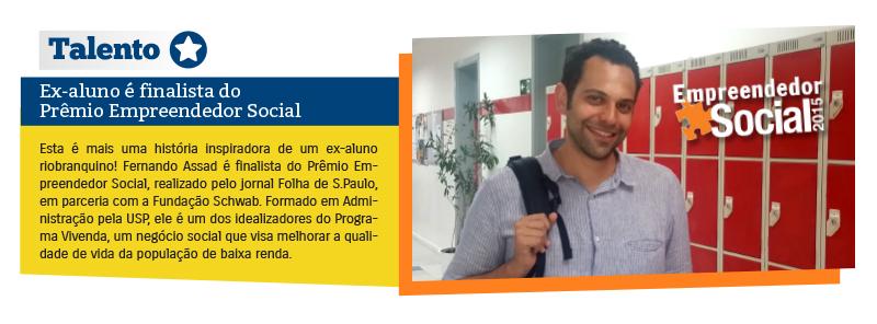 Ex-aluno é finalista do Prêmio Empreendedor Social