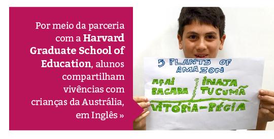Por meio de parceria com Harvard, alunos compartilham vivências com crianças da Austrália
