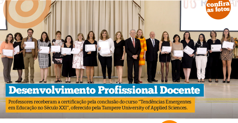 Professores são certificados pela Tampere University of Applied Sciences da Finlândia