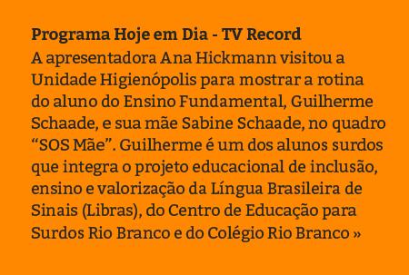 Programa Hoje em Dia - TV Record