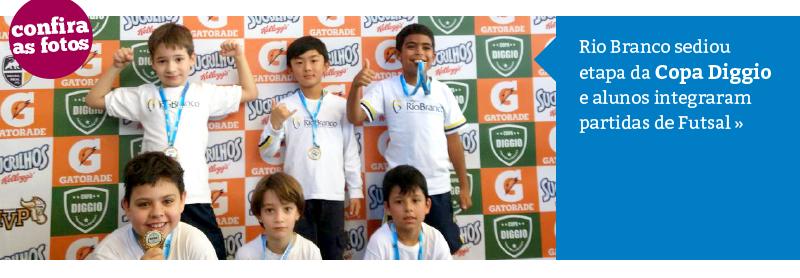 Rio Branco sedia etapa da Copa Diggio e alunos integram partidas de Futsal