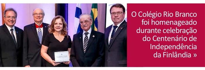 Colégio Rio Branco é homenageado em Centenário de Independência da Finlândia