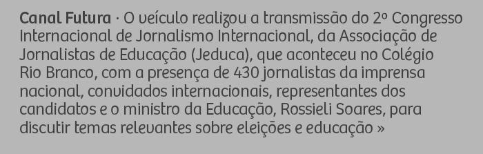 Canal Futura - O veículo realizou a transmissão do 2° Congresso Internacional de Jornalismo Internacional, da Associação de Jornalistas de Educação (Jeduca), que aconteceu no Colégio Rio Branco, com a presença de 430 jornalistas da imprensa nacional, convidados internacionais, representantes dos candidatos e o ministro da Educação, Rossieli Soares para discutir temas relevantes sobre eleições e educação.