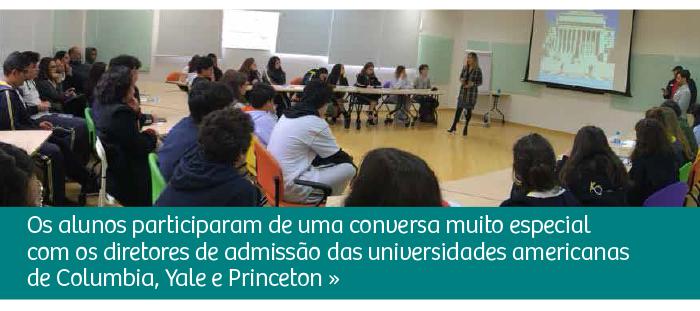 Diretores de admissão de universidades americanas conversam com alunos