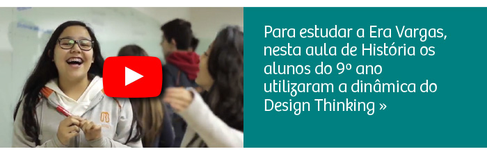 Aula com dinâmica do Design Thinking