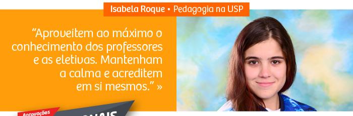 Aluna Isabela Roque foi aprovada em Pedagogia na USP
