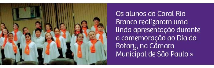 Coral Rio Branco participou da Comemoração ao Dia do Rotary