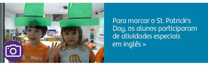 Crianças comemoram o St. Patrick's Day e ampliam repertório de Inglês