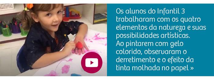 Crianças fazem arte com gelo colorido